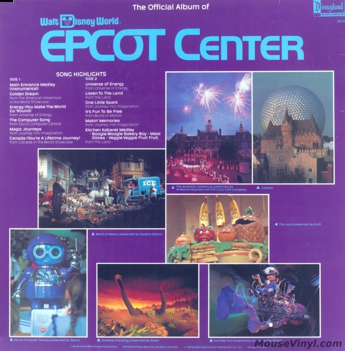 The Official Album Of Walt Disney World Epcot Center By