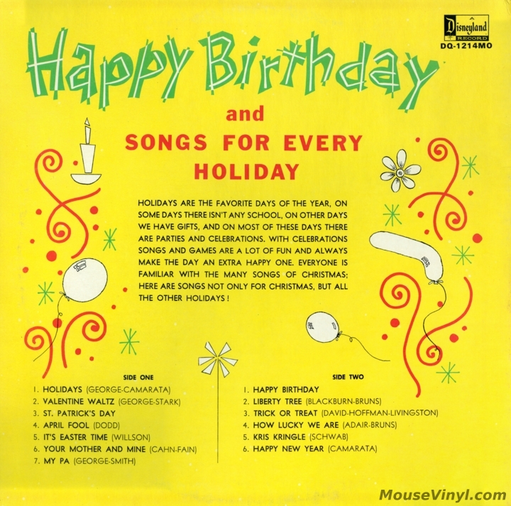 Happy Birthday and Songs for Every Holiday by Disneyland Records